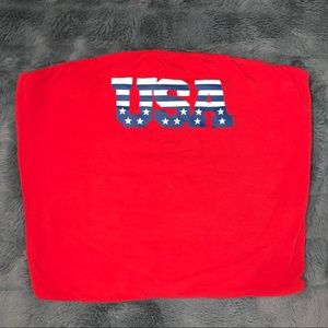 Mighty Fine Patriotic USA Red Tube Crop Top